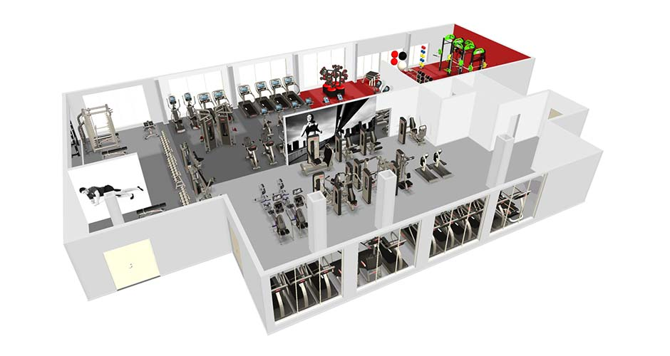 Tryst Sports Centre Case Study 3D Plan