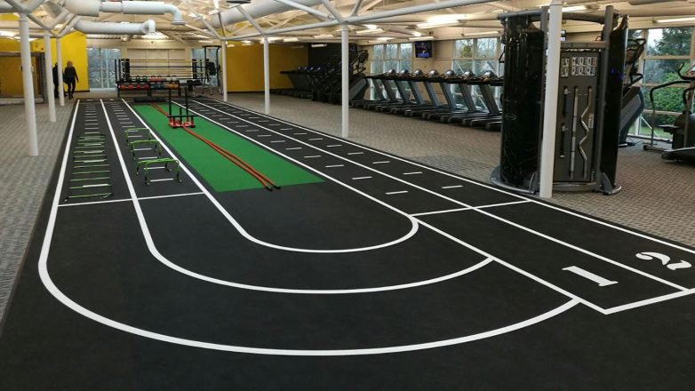 gym floor markings track